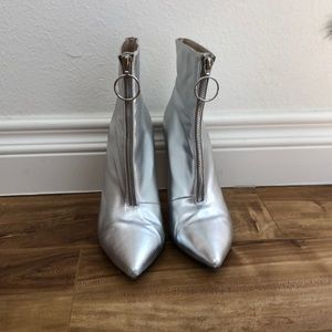 Raye silver front zip boots